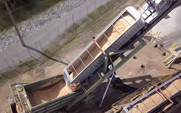 Wood residuals being loaded into a dump truck